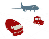 Airport carts and aiplane Royalty Free Stock Images