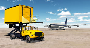 Airport catering truck and airliner Royalty Free Stock Images