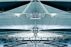 Airport ceilling in Porto, Portugal. Steel constructions under the ceiling of a modern airport Francisco Sa Carneiro. It is named after a Portuguese Prime Stock Photos