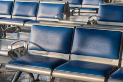 Airport Chairs For Waiting To Flight, Closed Up Sh. Ot, Warm Tone Stock Images