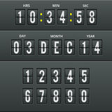 Airport characters and numbers in  calendar clock. Stock Image