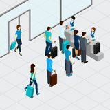 Airport Check In Line. With isometric people with suitcases vector illustration Stock Image