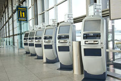Airport check-in point stock images