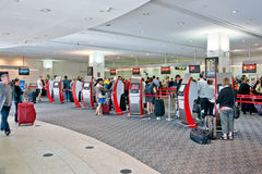 Airport check-in process. Virgin Atlantic airport self-service Stock Photography