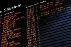 Airport Check in time. LED airport check in time board Stock Photography