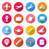 Airport Circle Color Icons. Royalty Free Stock Photos