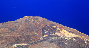 Airport at city Chania from airplane,Greece royalty free stock photography