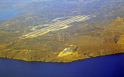 Airport at city Chania from airplane,Greece Stock Photos