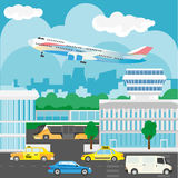 Airport in city design. Busy traffic, buses and taxis, buildings Stock Images