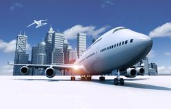 Airport and City Skyline. 3D Travel Concept Illustration. Second Airliner in Midair Stock Image