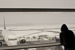 Airport closed, flights cancelled. Flights cancelled, disappointed passengers awaiting the chance to fly home Royalty Free Stock Photography