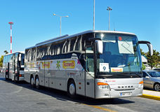 Airport coaches on Heraklion `Nikos Kazantzakis` airport Stock Photo