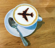 Airport coffee cup. Hot espresso on table, view from above. Airp Royalty Free Stock Image