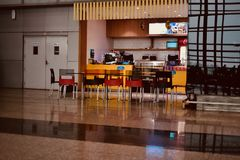 An airport coffee shop isolated unique photograph. A beautiful well decorated coffee shop around the Kolkata Airport isolated unique editorial photo royalty free stock photos