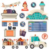 Airport color flat icons set. Color flat illustrations vector illustration