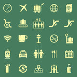 Airport color icons on green background Stock Image
