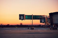 Airport at the colorful sunset Royalty Free Stock Photography