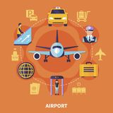 Airport Flat Concept. Airport concept with plane luggage taxi steward on orange background flat vector illustration Stock Photo