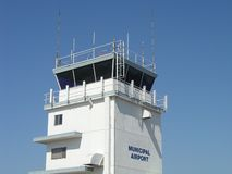 Airport Control Tower. Municipal Airport Control Tower, Fullerton, California Royalty Free Stock Photography