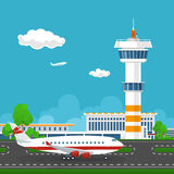 Airport  with Control Tower and Airplane Stock Photos