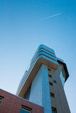 Airport control tower. The Airport control tower on a blue stock photography