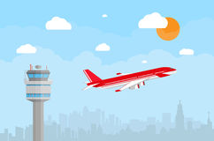 Airport control tower and flying airplane. Cartoon background with gray airport control tower and flying red civil airplane after take off in blue sky with Stock Image