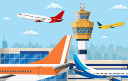 Airport control tower and flying civil airplane Stock Photo