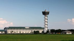 Airport control tower stock footage