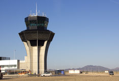 Airport control tower not yet opened Murcia Spain Royalty Free Stock Photos