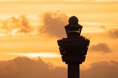 Free Airport Control Tower Sunset Plane Stock Photo - 136382870