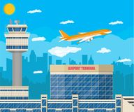 Airport control tower, terminal building Stock Image