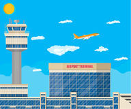 Airport control tower, terminal building Stock Photo