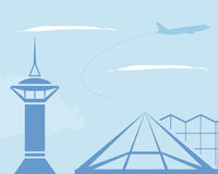 Airport. Control tower and terminal building. Vector illustration. EPS 10. Opacity Stock Photography