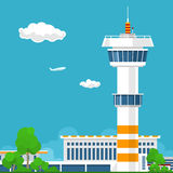 Airport with Control Tower Royalty Free Stock Photography