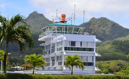 Airport control tower. A white airport control tower from the Cook Islands. Photo taken January 2014 Royalty Free Stock Image
