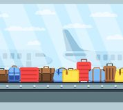 Airport conveyor belt with passenger luggage bags vector illustration. Airport baggage belt, luggage for travel, terminal conveyor Royalty Free Stock Photos