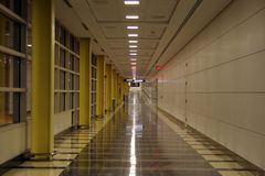Airport Corridor. Hallway at Reagan International Airport at night Royalty Free Stock Image
