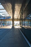 Airport Corridor Bus Arrival Area Modern Architecture Glass Sun royalty free stock images