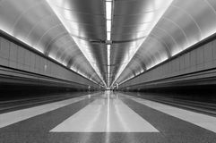 Airport corridor. Graphic in black and white creepage distances stock images