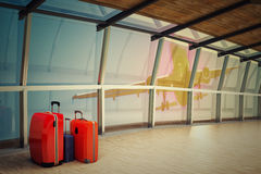 Airport corridor with a luggage stack at night Royalty Free Stock Photography