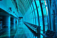 Airport Corridor ,The Airport Terminal Channel Of Steel And Glass Curtain Wall Royalty Free Stock Image