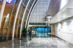 Airport Corridor ,The Airport Terminal Channel Of Steel And Glass Curtain Wall Royalty Free Stock Photography