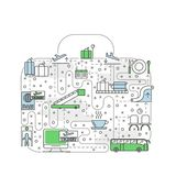 Airport Creative Concept with Thin Line Vector Icons royalty free illustration