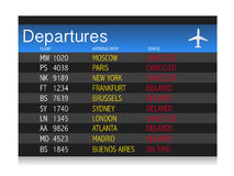Airport crisis departure table - delayed  canceled Stock Photos