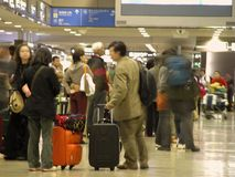 Airport crowd - blured. People in an airport Royalty Free Stock Photos