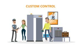 Airport custom control. People checking luggage and passengers Royalty Free Stock Image