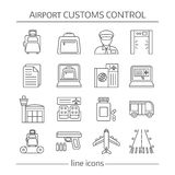Airport Customs Control Linear Icons Royalty Free Stock Image