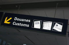 Airport Customs sign. Stock Images