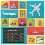 Airport Decorative Flat Icons Set Royalty Free Stock Photo