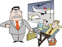 Airport delay cartoon. Cartoon of business travelers at airport waiting for planes Stock Photo
